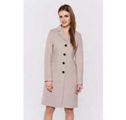 Wiosenny płaszcz wełniany  GRACJA  - jasny beż