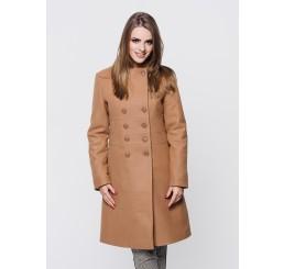 Płaszcz zimowy wełniany SUZANA STÓJKA - ciemny camel
