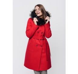 Płaszcz zimowy z kapturem ROZALIA 2 - czerwony