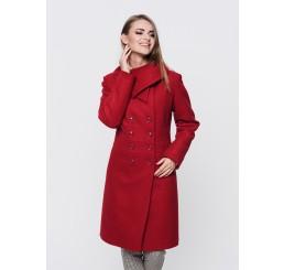 Płaszcz zimowy wełniany SUZANA - czerwony