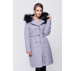 Płaszcz zimowy z kapturem ROZALIA 2 - jasny wrzos