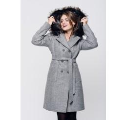 Płaszcz zimowy z kapturem ROZALIA 2 - szary melange