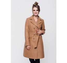 Płaszcz zimowy wełniany LUIZA - ciemny camel