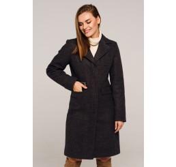 Płaszcz jesienno - zimowy wełniany EDYTA - czarny melange