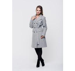 Płaszcz zimowy wełniany LUIZA - szary melange