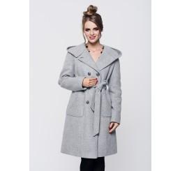Płaszcz zimowy z kapturem ROZALIA - szary melange