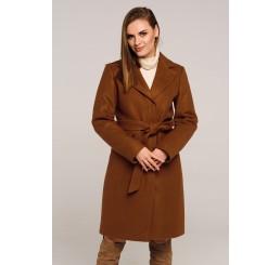 Płaszcz jesienno - zimowy wełniany EDYTA - brąz