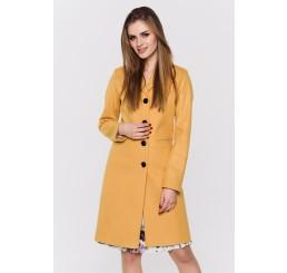 Wiosenny płaszcz wełniany  GRACJA  - musztarda