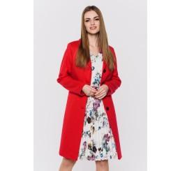 Wiosenny płaszcz wełniany  GRACJA  - czerwony