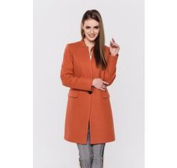 Wiosenny płaszcz wełniany ANITA - ceglany