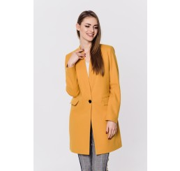 Wiosenny płaszcz wełniany ANITA - musztardowy